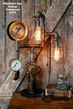 Steampunk Lamp by Machine Age Lamps, Steam Gauge Industrial #124