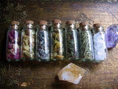 Pretty bottles: rose petals, jasmine, lavender, chamomile, maiden hair, rosemary and sea salt!
