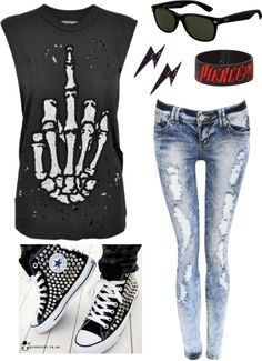 """Punk Look"" by jennydee26 on Polyvore--I want this! Minus the Pierce The Veil bracelet, because no."