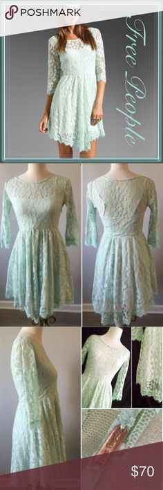 "Free people Lace Asymmetrical Hem Dress ➖SIZE: 2 (see measurements) - the size tag is missing. The Free People tag is still there (see photo) ➖BRAND: Free People ➖NWOT ➖STYLE: Beautiful mint floral mesh dress. The hem is asymmetrical giving it an unique look. It comes with an attached slip as shown in the picture.  MEASUREMENTS (laying flat)  ➖Shoulder: 13.5"" ➖Bust: 15""  ➖Waist: 13""  ➖Sleeves: 17"" ➖Length: 32"" - 34.5"" Free People Dresses Asymmetrical"