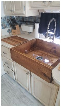 We specialize in these wooden style sinks, have been tested and mother approved. they are layered with a tough water proof epoxy resin, and mounting braces for hold and support. Please contact us with any other questions and request for size color and any Home Decor Kitchen, Home, Kitchen Remodel, Kitchen Decor, Home Remodeling, New Homes, Home Kitchens, Kitchen Design, Rustic House