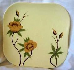 Shabby Rockabilly Vintage Yellow Rose CA Square Plate Square Plate Set, Big Yellow, Black Leaves, Appetizer Plates, Black Accents, Yellow Roses, Paint Designs, Accent Pieces, Rockabilly