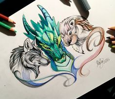 dragon wolf dog drawing picture green grey pencil draw рисунок дракон волк собака