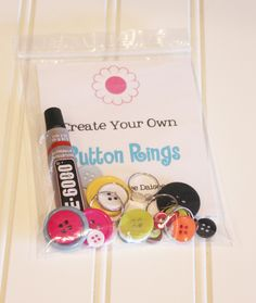 Button Ring Create Your Own DIY Kids Craft Kit for 5 Girls Rings - Play Dates, Party Favors, Birthday Gifts, etc. $5.00, via Etsy.