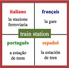 Train station - Daily Vocabulary Word in French, Spanish, Italian and Portuguese.   http://wlteacher.wordpress.com/