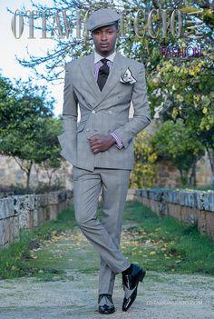 Abito da sposo doppiopetto fashion tessuto principe di galles grigio. Completo  ONGala 2143. Collezione Fashion Formal 2018 25f52d2ed05