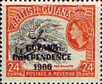Guyana 1967 Independence Overprint Fine Mint SG 435 Scott 32O  Other Guyana Stamps HERE