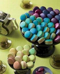 Jewel-Tone Colored Macarons | 5 Tips For An Edgy Jewel-Tone Reception (From Jes Gordon!) | https://www.theknot.com/content/tips-for-an-edgy-jewel-tone-reception-from-jes-gordon