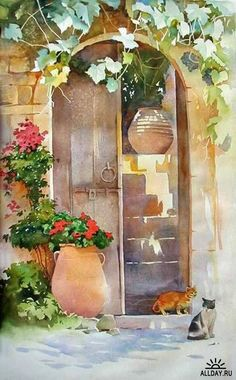 Who doesn't love a painting with kitty cats! Art Aquarelle, Watercolor Pictures, Watercolor Landscape, Watercolour Painting, Watercolor Flowers, Watercolors, Watercolor Techniques, Art Techniques, Pinturas Em Tom Pastel