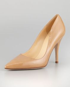 licorice patent pointed-toe pump, camel by kate spade new york at Neiman Marcus.