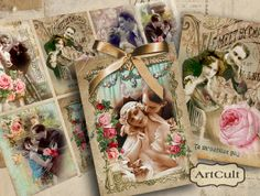 VINTAGE COUPLES - Printable Digital Collage Sheet gift tags jewelry holders Vintage Ephemera valentine greeting cards