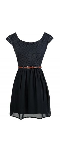 Walking In Memphis Belted Lace Dress in Navy