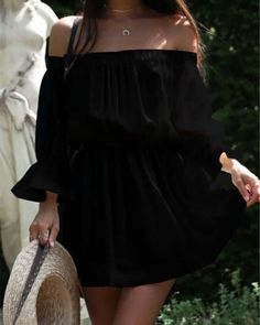 Womens Mini Dresses Off Shoulder Summer Casual A Line Beach Holiday Sundress US Black Midi Dress Outfit, Dress Outfits, Boho Sundress, Types Of Skirts, Draped Dress, Summer Dresses, Mini Dresses, Types Of Sleeves, Sleeve Pattern