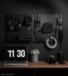 DIY Matte Black Camera Charging Station — becki and chris Computer Gaming Room, Computer Desk Setup, Gaming Room Setup, Home Studio Setup, Home Office Setup, Home Office Desks, Bedroom Setup, Game Room Design, Gamer Room
