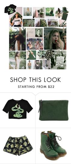 """""""Excuse me, you're a hell of a guy you know I really got a thing for American guys I mean, sigh, sickenin' eyes I can tell that you're in touch with your feminine side"""" by existential-crisis ❤ liked on Polyvore featuring Stolen Girlfriends Club, Oliveve and Dr. Martens"""