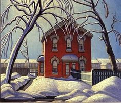 "Painting by Lawren Harris - ""The Red House"" (c. - member of the Group of Seven, Canadian artists Tom Thomson, Group Of Seven Artists, Group Of Seven Paintings, Canadian Painters, Canadian Artists, Art And Illustration, Landscape Art, Landscape Paintings, Landscapes"
