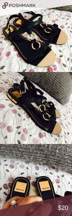 Black & Gold Sandals Very cute, light and comfy black and gold sandals from Dolce Vita! Dolce Vita Shoes Sandals