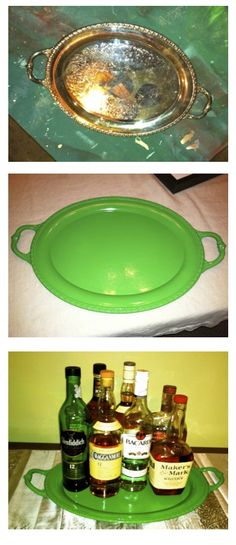 DIY painted tray - pin for when you need to refresh old silver items! I have a million of these
