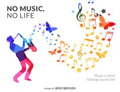 Design featuring a musician silhouette in bright colors with stars, musical notes and butterflies coming out of the instrument. It says no music, no life