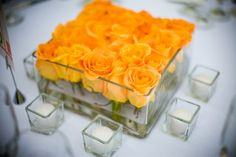 Beautiful and simple table centrepiece. Plus i love things that are squared off Yellow Centerpieces, Modern Centerpieces, Wedding Table Centerpieces, Wedding Flower Arrangements, Flower Centerpieces, Floral Arrangements, Wedding Decorations, Wedding Flowers, Wedding Ideas
