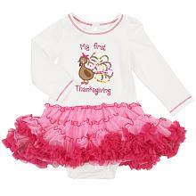 4f13a94df8ab Koala Kids Girls' Long Sleeve My First Thanksgiving Bodysuit with Tutu -  Ivory/Pink