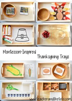 Montessori-inspired ideas for Thanksgiving-themed shelf work for toddlers