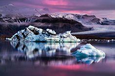 icebergs at dusk, iceland photo
