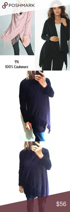 """IN CASHMERE - 100% GENUINE CASHMERE BLCK  WRAP IN CASHMERE- 100% SOFT BLACK CASHMERE WITH FRINGE EDGE Pre-loved/1st pic for similarity  SZ S RN# 93761 100% CASHMERE  One Side of Wrap has Fringe Connects at Shoulder/Neck, Long Sleeves, Extremely Soft! I'm 5'4"""", 114lbs Size 4/5 and there's Plenty of Room! It's Suppose to Cover Loosely...not Tight  Colors May Not be Exact due to Lighting or UR Screen IN Sweaters Shrugs & Ponchos"""