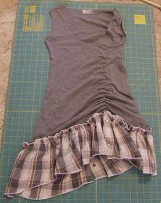 da una vecchia tshirt con un plaid è venuto questo vestitino delizioso...da fare,