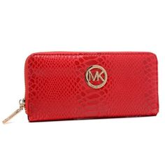 MICHAEL Michael Kors Jet Set Python-Embossed Continental Wallet Red