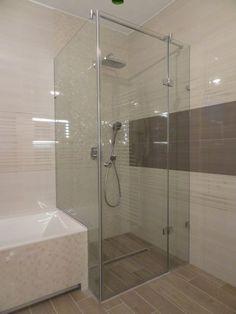 sklenený sprchovací kút s otočnými dvermi v bezrámovom prevedení Bathtub, Bathroom, House, Standing Bath, Washroom, Bathtubs, Home, Bath Tube, Full Bath