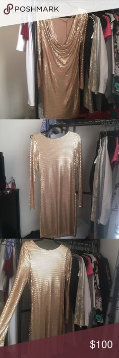 Gold sequined Micheal Kors dress Gold sequined long sleeve dress with scooped back neckline (so cute) never worn!! MICHAEL Michael Kors Dresses Long Sleeve