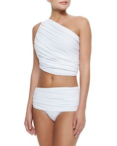 Diana One-Shoulder Swim Top & Moderate-Rise Swim Bottom by Norma Kamali at Bergdorf Goodman.