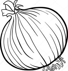 Onion vegetable cartoon for coloring book - Stock Vector ,