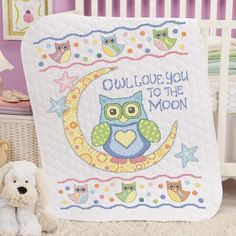 Baby by Herrschners® Owl Love You Baby Quilt Stamped Cross-Stitch Kit Was: $49.99 Now: $39.99