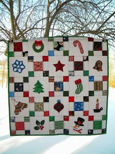 """Christmas - Irish Chain"" with raw edge applique, scrappy Christmas fabric, table topper or wall hanging"