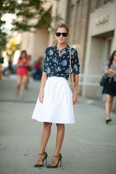 Marina Larroude - Classic White skirt,  floral Top.