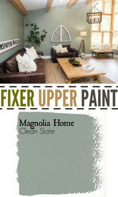 Fixer Upper Living Room Paint color. Clean Slate.