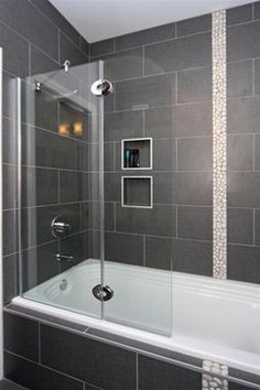 Contemporary Grey Tile Shower Design Ideas, Pictures, Remodel and Decor