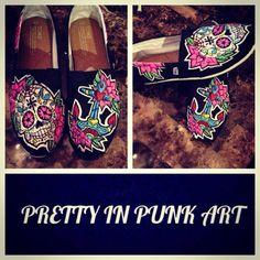 Women's Custom hand painted Toms. Sugar Skull & by PrettyInPunkArt, $120.00