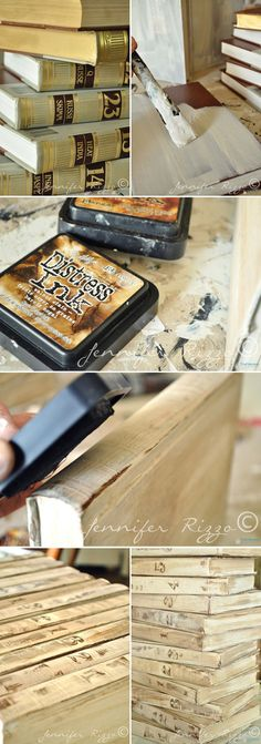 BOOK UPDATE :: Jennifer Rizzo: Repurpose old encyclopedias into aged display books..... Painting book covers