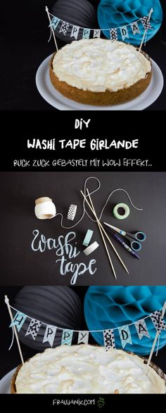 DIY DIY washi tape garland as a cake topper – the healthy alternative to the sugar-sweet fondant as a cake decoration! 😉 DIY 41 Source by fraujanik Washi Tape Crafts, Cheesecake, Moist Cakes, Cupcakes, Birthday Diy, Food Humor, How To Make Cake, Cake Toppers, Cake Decorating