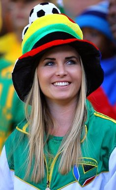 South Africa.  This is perhaps the least sexualized photo I found of a South African football fan at FIFA.