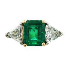 18k Yellow Gold Emerald Cut Emerald Diamond Ring -Boca Raton