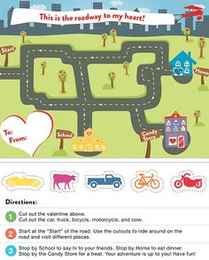 """Vroom, vroom! If your lil one loves cars and trucks and things that go, our """"Roadway to My Heart"""" valentine is the perfect card for him to hand out at school! The interactive card — with a cut out car, truck, bicycle, motorcycle, and cow"""