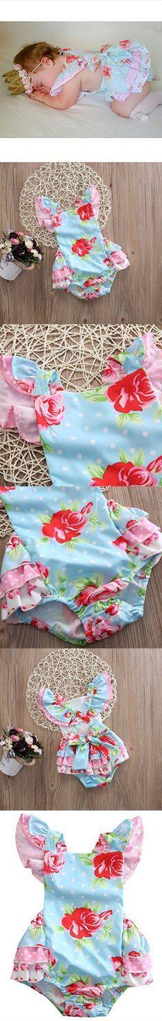 Baby Girls' Full Flower Print Buttons Ruffles Romper Bodysuit with Headband (100(18-24M), Blue(no headband))