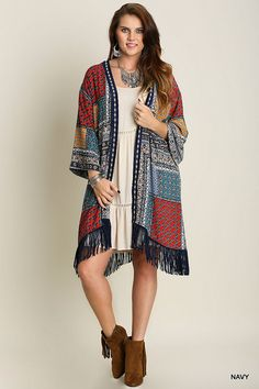 Umgee Fringed Navy Blue Square Print Chiffon Long Cardigan fits XL-2X/3X NWT #Umgee #Kimonojacket #Casual