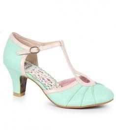 Bettie Page Mint & Metallic Leatherette Keyhole Eris T-Strap Heels T Strap Heels, Strappy Heels, Shoes Heels, Buy Shoes, Shoes Sneakers, Flats, Vintage Inspired Shoes, Vintage Shoes, Vintage Dresses