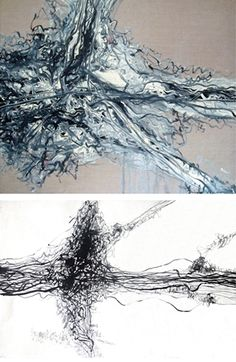 """Zeng Fanzhi:   Untitled (""""Abstract"""" Painting and """"Abstract"""" Ink Study: 2 works)"""