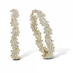 18KY Asprey Oak Leaf Hoop Earrings 2.47ct pave diamonds $12,800.00